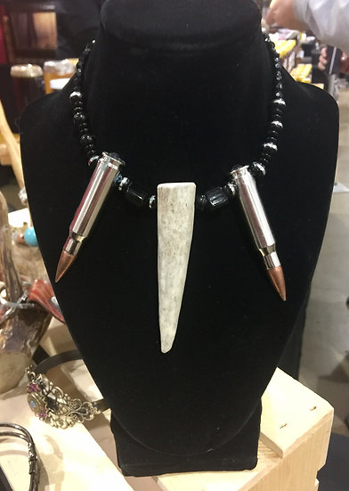 Statement Necklace with Antler and Bullets