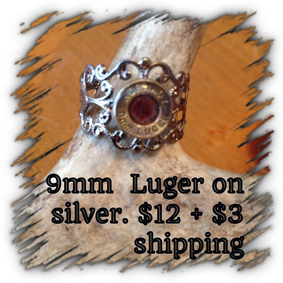 9mm Luger on Silver Ring