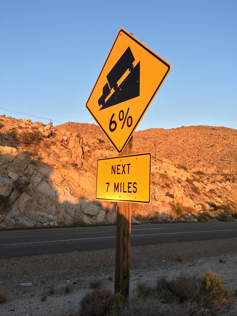 Steep Grade Warning Sign