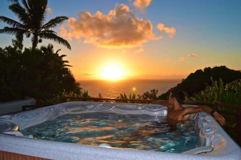 multiple ocean view hot tubs