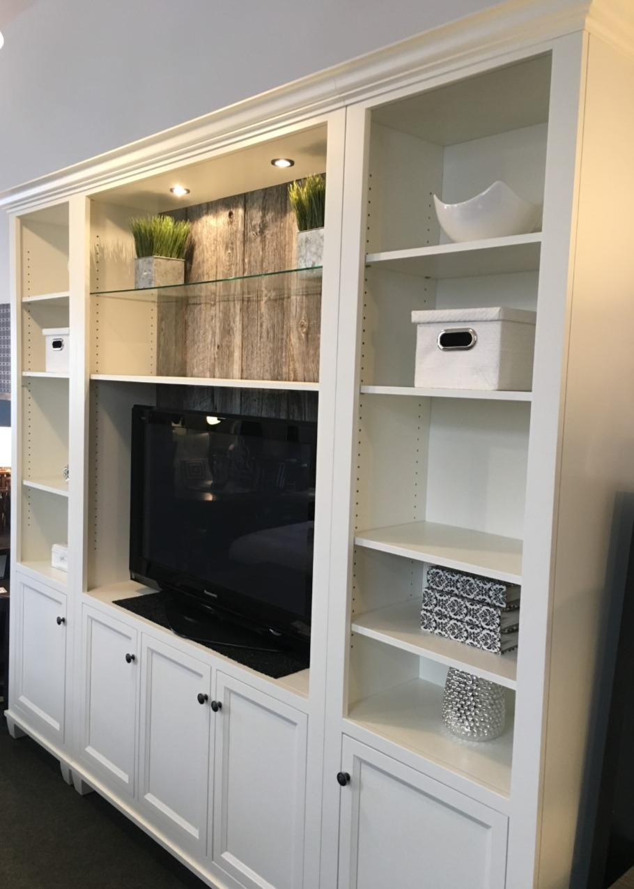 Toronto wall unit with barnboard