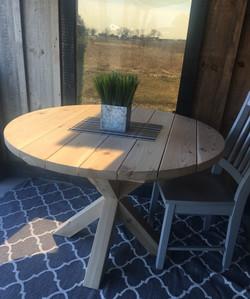 Round cedar X base table