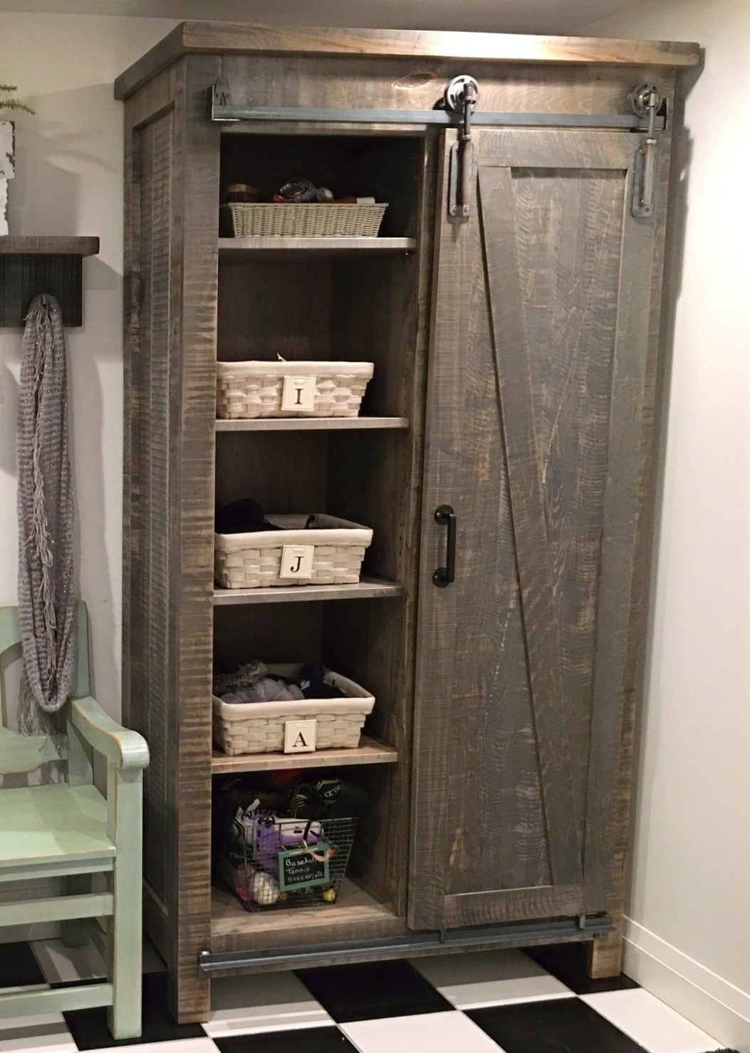 Custom barn door cabinet