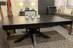 Herringbone table with hedgehog base