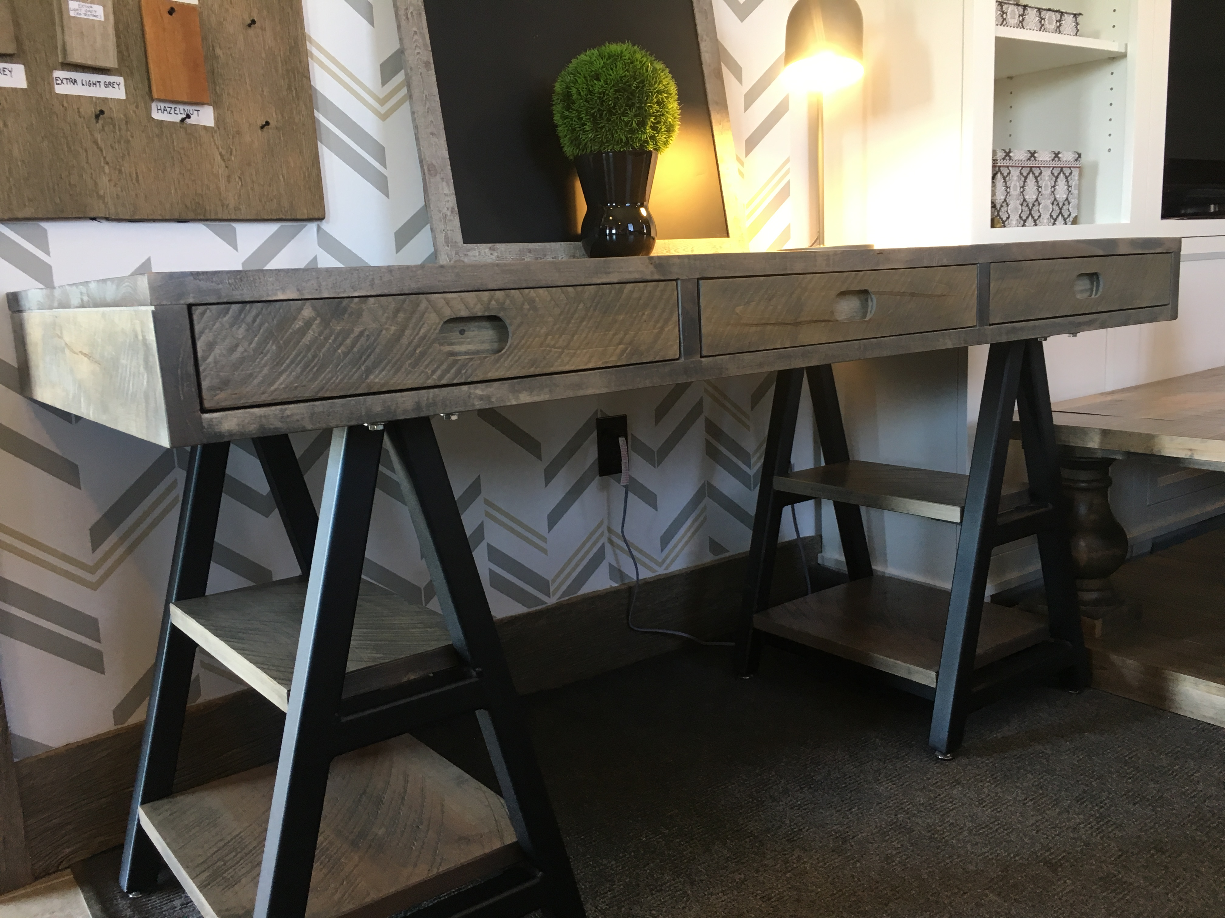 Sawhorse desk with drawers