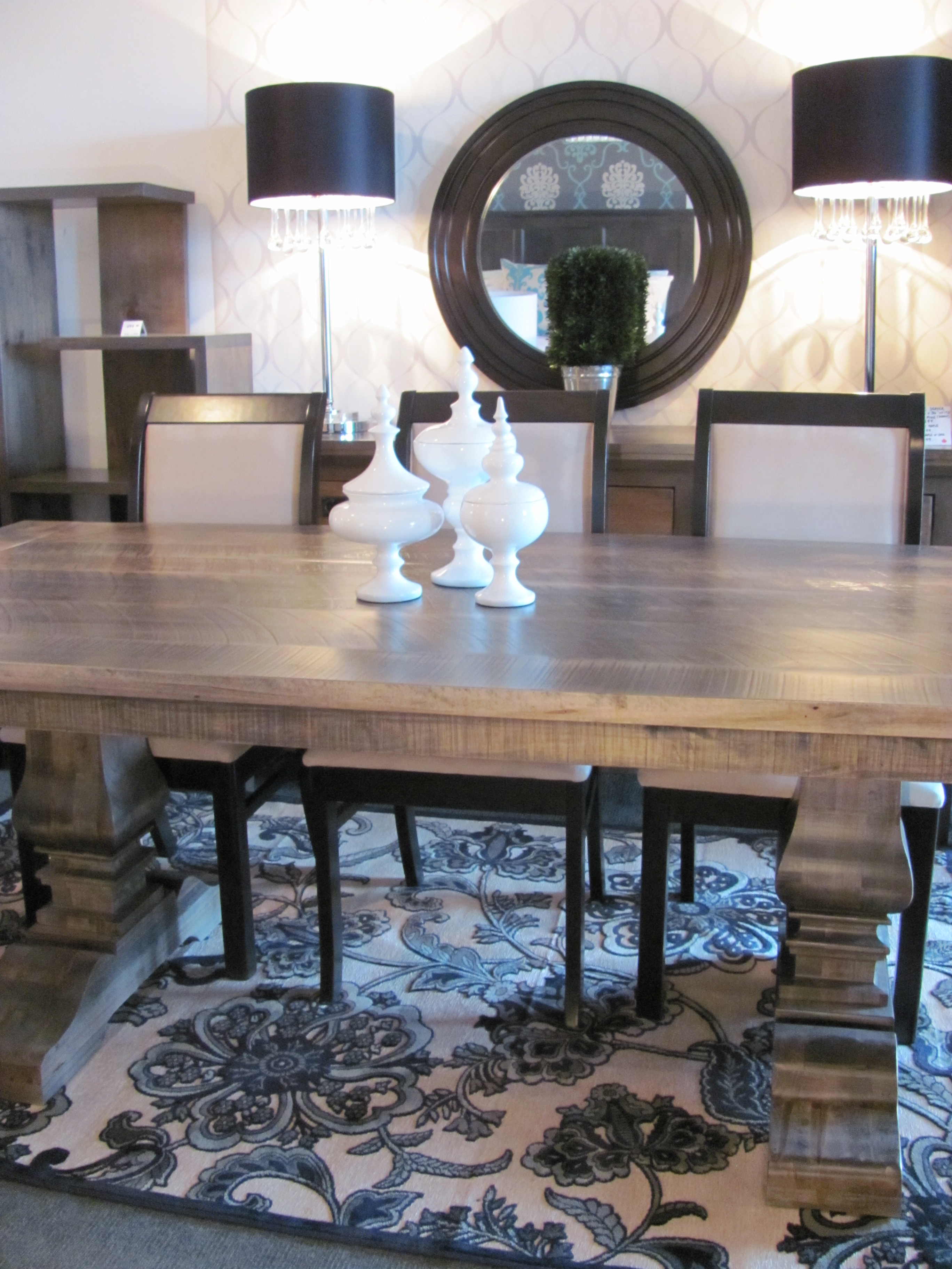 Salvaged Double Pedestal Table