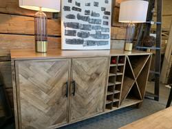 Herringbone wine rack sideboard