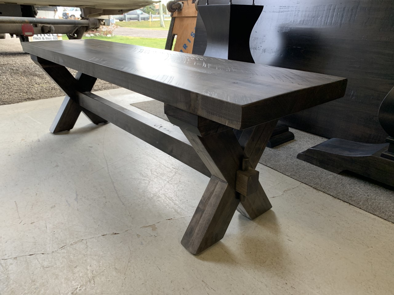 Slab top trestle bench