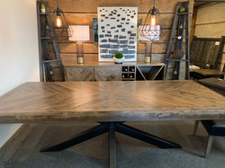 Herringbone table w/ Hedgehog base