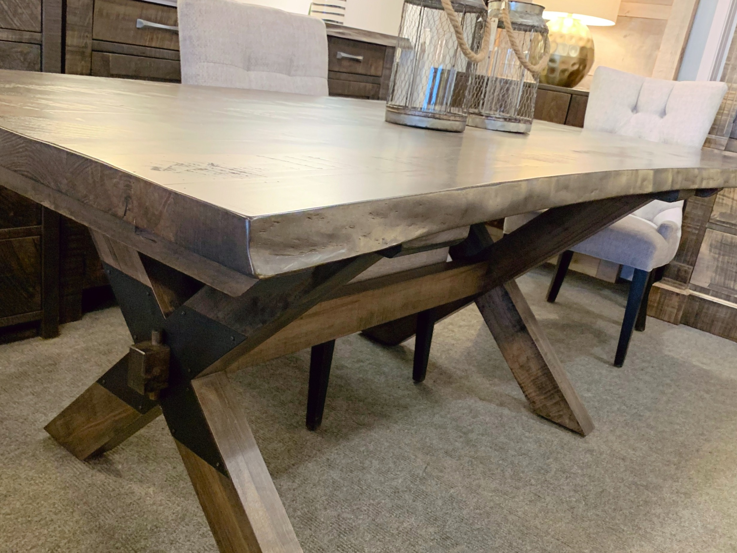 Live edge tables with X base