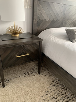 Herringbone single drawer nightstand