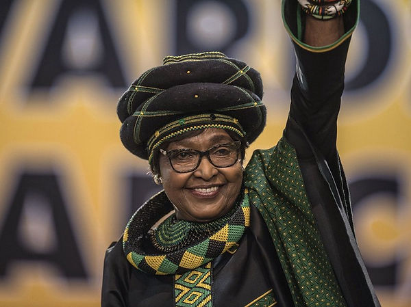Winnie Madikizela-Mandela waves as she attends the 54th ANC National Conference in Johannesburg late last year. Mujahid Safodien/AFP/Getty Images