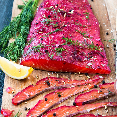 Beet and vodka cured salmon (Grav lax) - local delivery