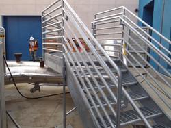 Elevated walkway platform and railing