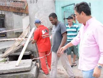 Vereador Dr. Ronaldo Onishi acompanha manutenção de galeria no Trianon