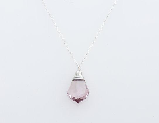 Swarovski Amethyst Crystal Silver Wrapped Drop