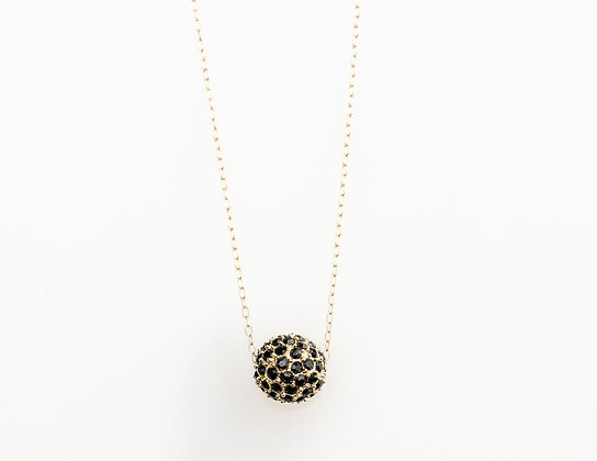 Leopard Spot Black Crystal Ball Necklace
