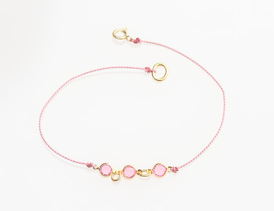 Charlotte Bracelet on Silk (Rose Pink)