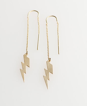 "Ear Thread ""Lightening Strikes"" Gold Earring"