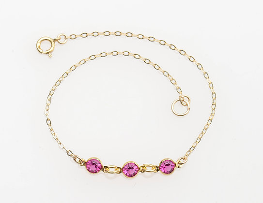 Charlotte Bracelet on gold chain- Colors Available
