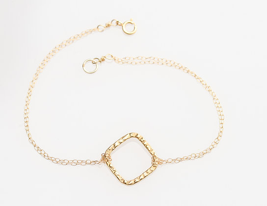 Karma Square Bracelet on Gold Chain