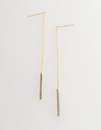 Solid Bar Thread Earring- Gold