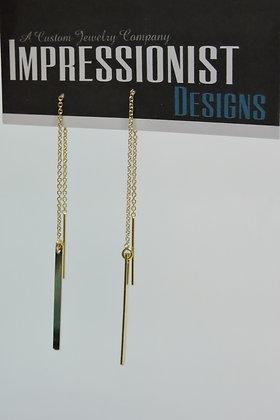 Solid Bar Thread Earring-Silver
