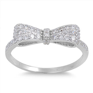 Crystal Bow Ring--- Clear