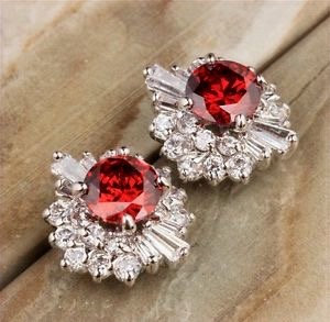 Ruby and White Topaz Vintage Earring