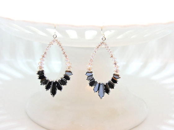 Onyx and White Topaz Ice Queen Earring