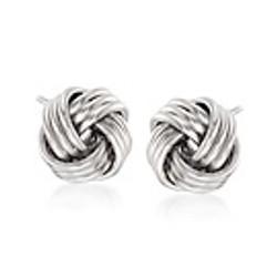 14kt white gold knot stud earring