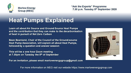 Heat Pumps Events Marlow Energy Group