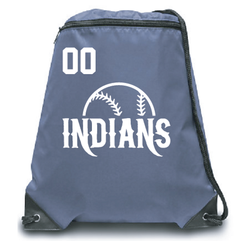 Indians Zippered Drawstring Backpack