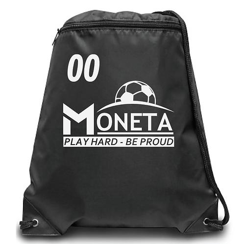 Moneta Soccer Zippered Drawstring Backpack
