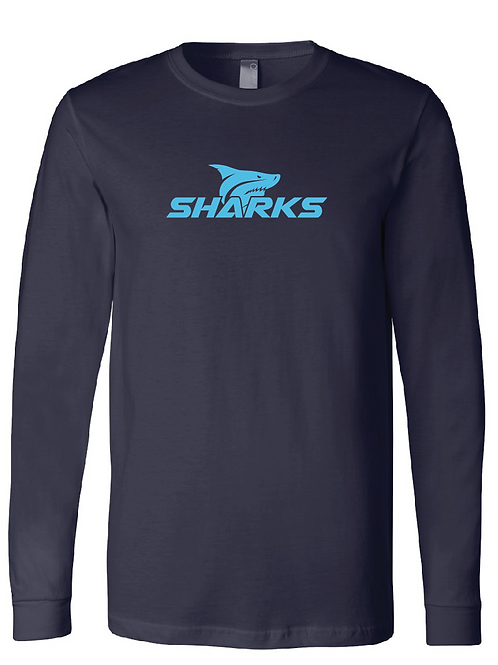 Navy - Shark Longsleeve T-Shirt