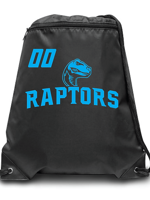 Raptors Zippered Drawstring Backpack