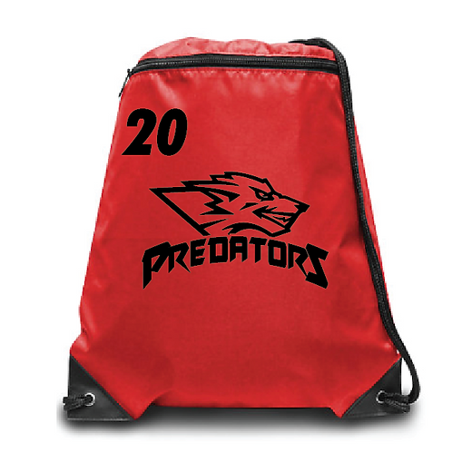 Predators Zippered Drawstring Backpack