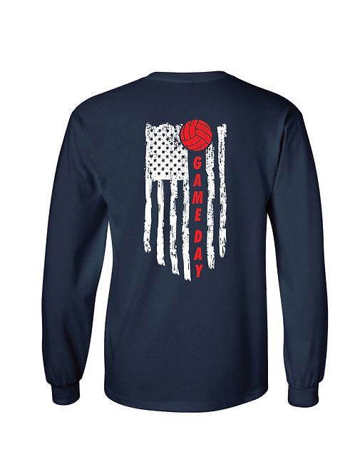 Game Day Flag Liberty Volleyball Longsleeve