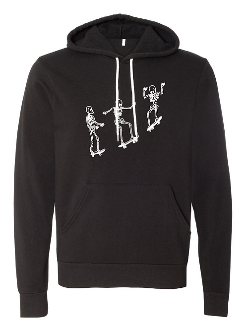 Unisex Fleece Hoodie - Skating Skeletons