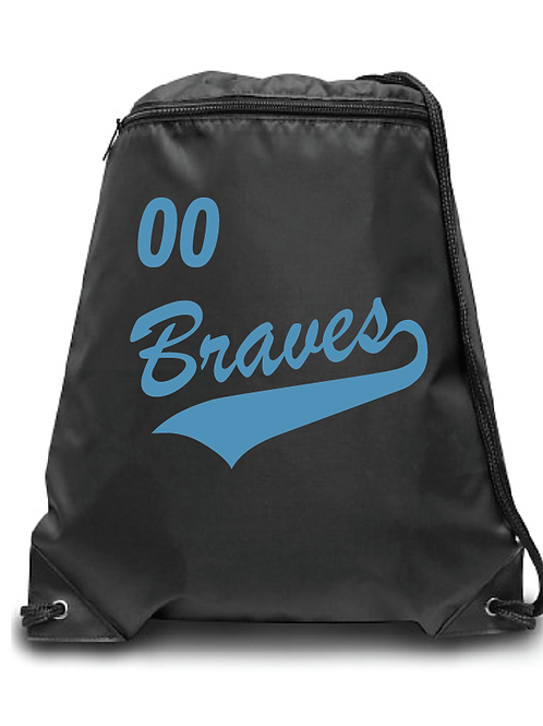 Braves Soccer Zippered Drawstring Backpack