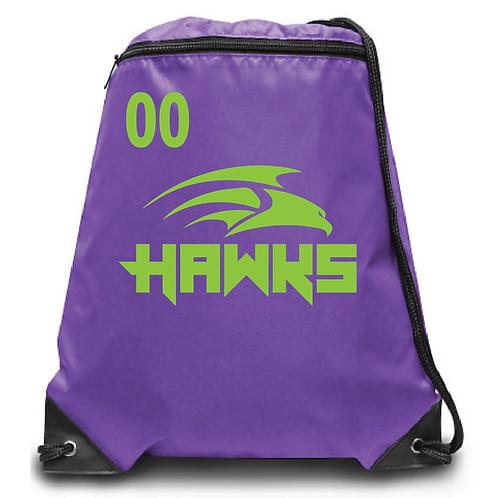 Hawks Zippered Drawstring Backpack