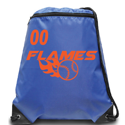 Flames Zippered Drawstring Backpack