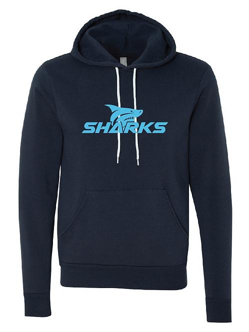 Unisex Fleece Hoodie Navy -  Shark Soccer