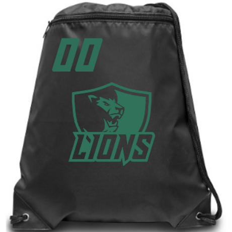 Lions Zippered Drawstring Backpack