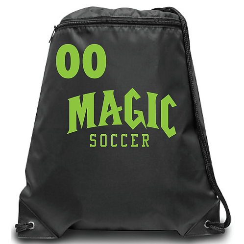 Magic Soccer Zippered Drawstring Backpack
