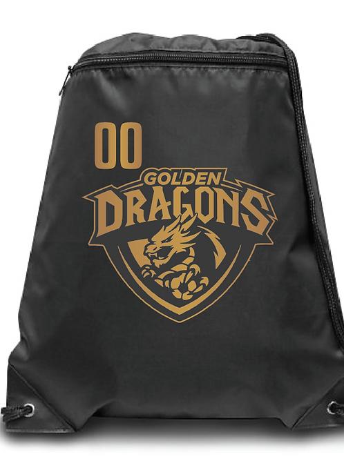 Golden Dragons Zippered Drawstring Backpack