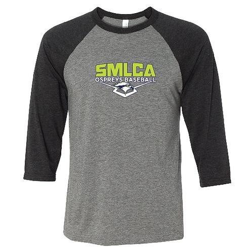 Unisex 3/4 Sleeve Baseball Tee- SMLCA Ospreys Baseball