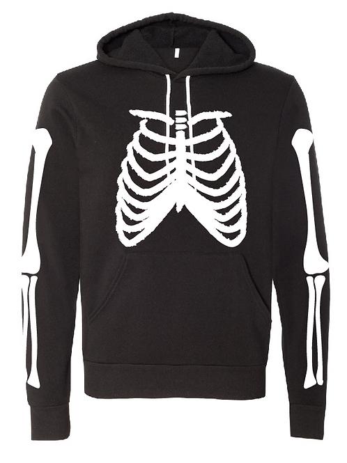 Unisex Fleece Hoodie - Skeleton (White/Glow)