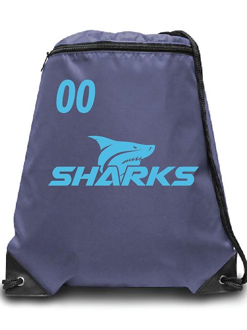 U6 Sharks  Soccer Zippered Drawstring Backpack