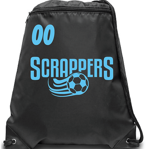 Scrappers Soccer Zippered Drawstring Backpack